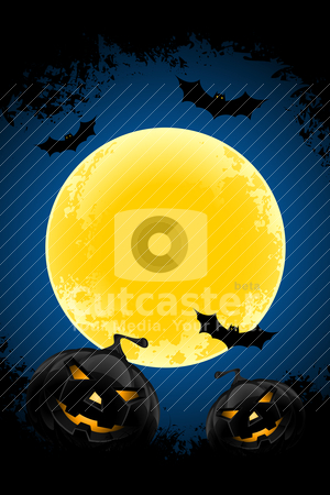 Grungy Halloween background stock vector clipart, Grungy Halloween background with pumpkins  bats and full moon by Vadym Nechyporenko