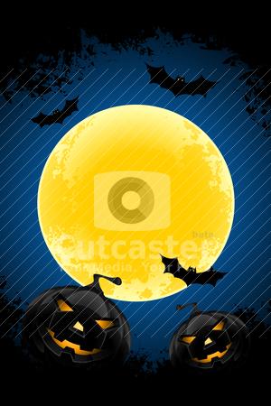 Grungy Halloween background stock vector clipart, Grungy Halloween background with pumpkins  bats and full moon by Vadym Nechyporenko