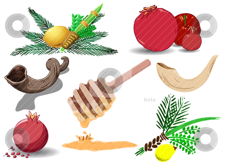 Jewish Holidays Symbols Pack stock vector clipart, A pack of Vector illustrations of famous Jewish symbols for the Jewish Holidays New Year, Yom Kipur and Sukkot. by Liron Peer