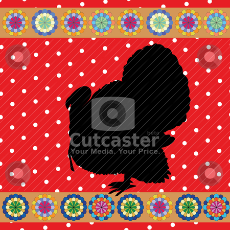 Retro turkey stock vector clipart, turkey clipart background, retro style card by Richard Laschon