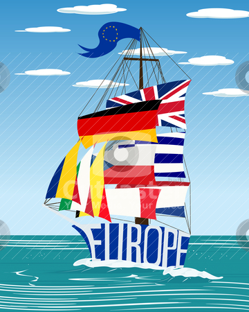 EU ship stock vector clipart, Conceptual European Union flag ship graphic by Richard Laschon
