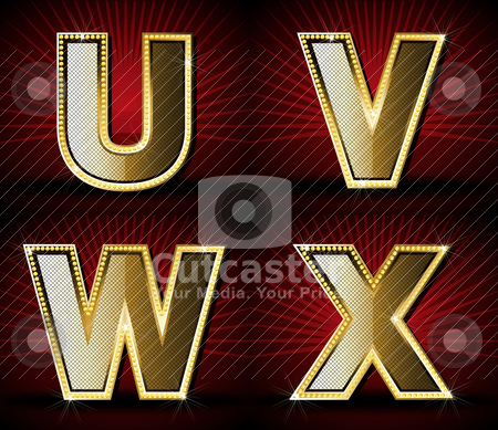 Vector Luxurious Gold Diamond Alphabet stock vector clipart, Illustrator EPS 10, Be Able to scale to any big size without loss resolution  by vireakchandara