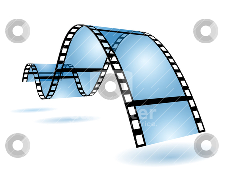 Film strip stock vector clipart, Blue film strip in blue by Laurent Renault