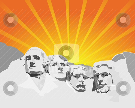Mount Rushmore stock vector clipart, Mount Rushmore in the background of orange light by Yuriy Mayboroda