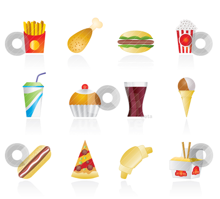 Fast food and drink icons  stock vector clipart, fast food and drink icons - vector icon set by Stoyan Haytov