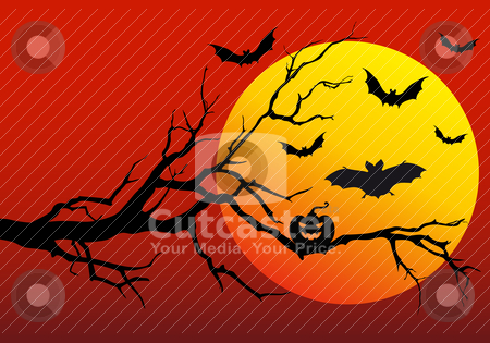 Halloween background, vector stock vector clipart, halloween background with flying bats, vector illustration by Beata Kraus
