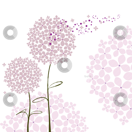 Abstract springtime purple Hydrangea flower stock vector clipart, Abstract springtime purple pink Hydrangea flower by meikis