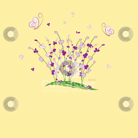 Summertime purple flower butterfly greeting card stock vector clipart, summertime purple flower butterfly greeting card by meikis