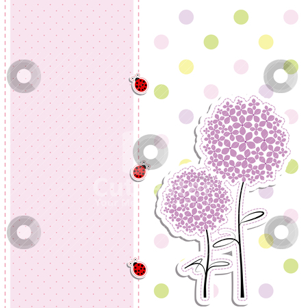Card design purple flower,ladybird on polka dot background stock vector clipart, card design purple flowers,ladybirds on polka dot background by meikis