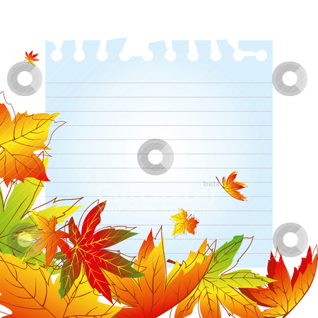 Abstract autumn leaves background stock vector clipart, Abstract colorful autumn leaves on white note paper by meikis