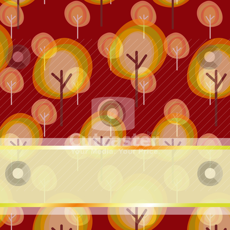 Abstract autumn tree seamless pattern greeting card stock vector clipart, Abstract autumn tree seamless pattern greeting card by meikis