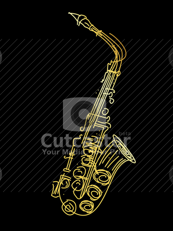 A golden saxophone stock vector clipart, A golden saxophone, stylized hand drawing graphic by Richard Laschon