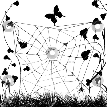 Grungy web spider stock vector clipart, web spider in black and white, grunge background by Richard Laschon