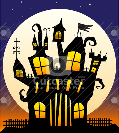 Haunted Castle stock vector clipart, Crazy off-kilter haunted castle against a moonlit night by Laure Adams