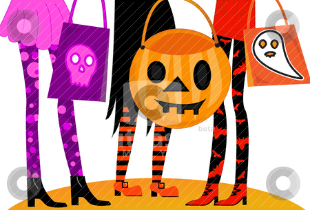 Halloween Trick or Treaters stock vector clipart, Girls night out dressed in Halloween costumes with fun goody bags.  Ready for Trick or Treating or going to clubs or parties. by x7vector