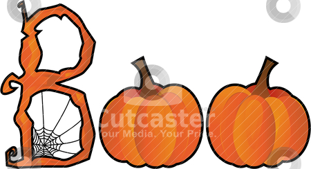 Halloween Boo text stock vector clipart, Halloween BOO text created from a spiderweb B and two pumpkin Os by Laure Adams