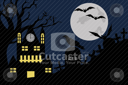 Halloween illustration stock vector clipart, Halloween illustration of a house in cemetery by Ioana Martalogu