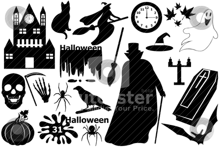 Halloween elements stock vector clipart, Halloween elements isolated on white by Ioana Martalogu