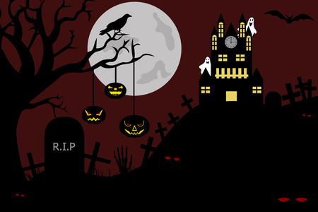 Illustration of a house in cemetery stock vector clipart, Castle view from a cemetery at night illustration by Ioana Martalogu