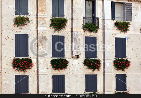 Italian window pattern stock photo, Stylish wall of a building from Bassano del Grappa, Northern Italy by Natalia Macheda