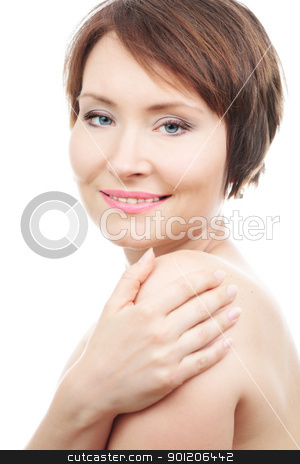 Charming beauty stock photo, Portrait of healthy sensual woman isolated on white by Natalia Macheda