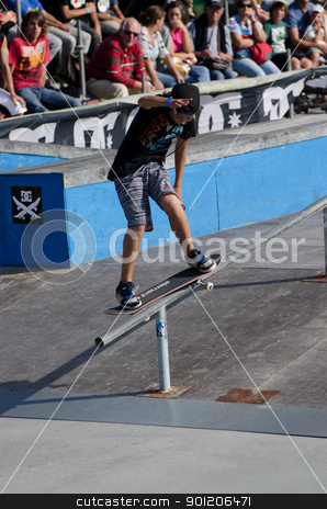 Tiago Lopes stock photo, ILHAVO, PORTUGAL - SEPTEMBER 04: Tiago Lopes during the 2nd Stage of the DC Skate Challenge on September 04, 2011 in Ilhavo, Portugal. by Homydesign