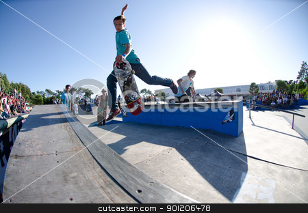 Jorge Simões stock photo, ILHAVO, PORTUGAL - SEPTEMBER 04: Jorge Simões during the 2nd Stage of the DC Skate Challenge on September 04, 2011 in Ilhavo, Portugal. by Homydesign
