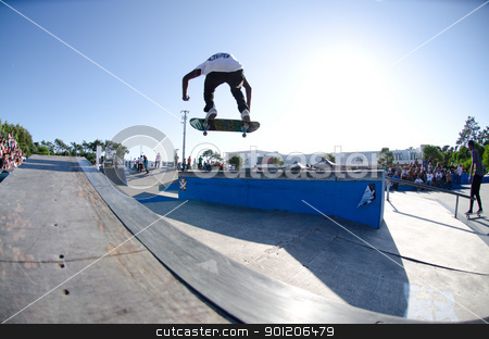 Helder Lima stock photo, ILHAVO, PORTUGAL - SEPTEMBER 04: Helder Lima during the 2nd Stage of the DC Skate Challenge on September 04, 2011 in Ilhavo, Portugal. by Homydesign