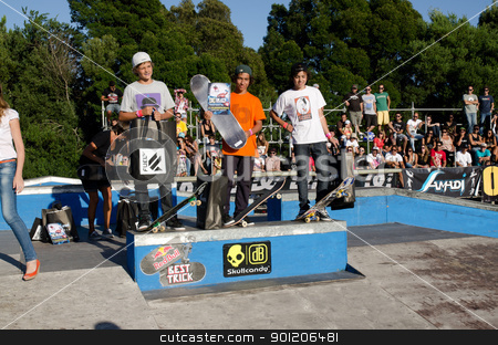 Beginners rank winners stock photo, ILHAVO, PORTUGAL - SEPTEMBER 04: Rui Ferreira, Diogo Braga and Telmo Antunes during the 2nd Stage of the DC Skate Challenge on September 04, 2011 in Ilhavo, Portugal. by Homydesign