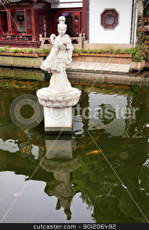 Woman Statue Shanghai Yuyuan Garden with Reflections China stock photo, Old Shanghai Houses, Lake Reflection, Woman Statue, Yuyuan Garden China by William Perry