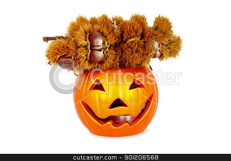Lantern with chestnut stock photo, Little halloween lantern with chestnut isolated on white background by Borislav Marinic