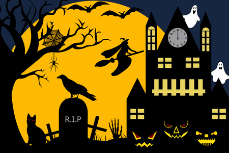 Halloween illustration stock vector clipart, Halloween illustration of a witch flying over a cemetery by Ioana Martalogu