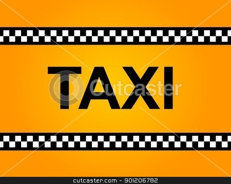 TAXI Sign stock photo, Background of a yellow taxi cab with text by Henrik Lehnerer
