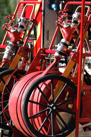 fire truck stock photo, Equipment of Fire Truck in the street by vwalakte