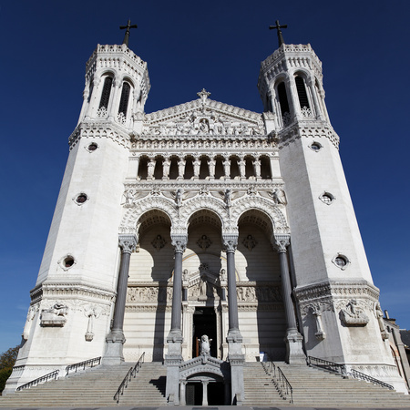 front cathedral stock photo, The Fourviere Church in Lyon city and blue sky by vwalakte