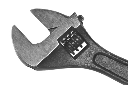 Adjustable wrench stock photo, A closeup shot of an adjustable wrench on a white background by derejeb
