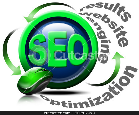 Search engine optimization web - SEO stock photo, Illustration with mouse and written SEO, optimization, results, website, engine by catalby