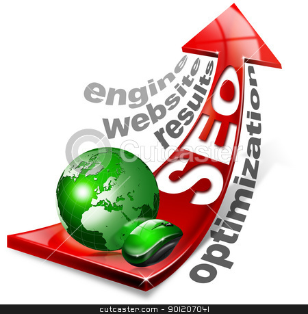 SEO positive red arrow stock photo, Written SEO with red arrow and globe, mouse and written: optimization, results, website, engine by catalby