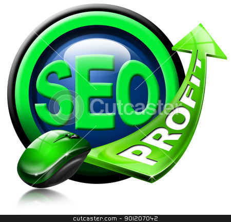 SEO profit green arrow stock photo, Written SEO and green arrow with the word profit and mouse by catalby