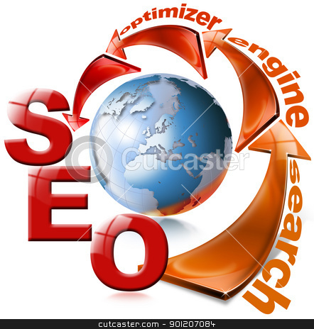 SEO red arrow - Search Engine Optimization Web stock photo, Illustration with globe, arrow and written SEO by catalby