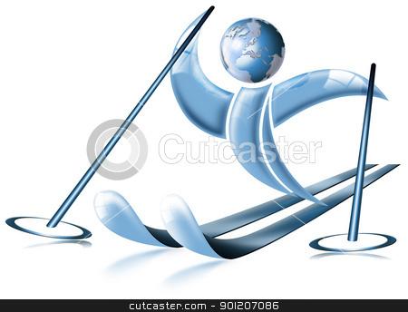 Ski world stock photo, blue stylized skier with head-shaped globe by catalby