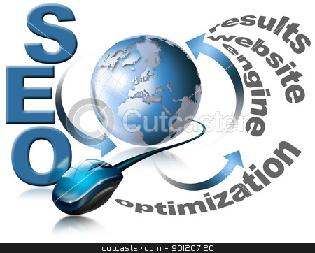 SEO - Search Engine Optimization Web stock photo, Illustration with globe, mouse and written SEO by catalby