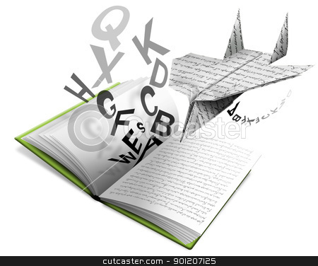 Airbook stock photo, Book of Literature open with paper airplane and letters by catalby