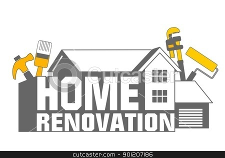 Home Renovation icon stock photo, An illustration of home renovation icon and tools by Sreedhar Yedlapati