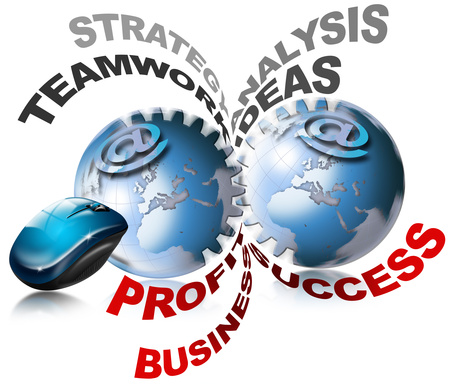 World business gears stock photo, 2 terrestrial globes in the shape of gears with meaning and profit optimization by catalby