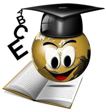 World graduation stock photo, Humorous illustration university degree with globe smiling by catalby