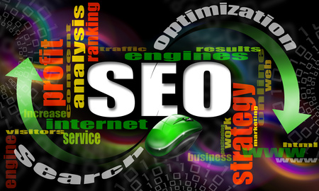 SEO engines strategy stock photo, SEO - search engine optimization web word cloud and mouse by catalby