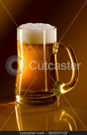Mug full of beer stock photo, Mug full of beer on a gold background reflected in glass by miloslav78