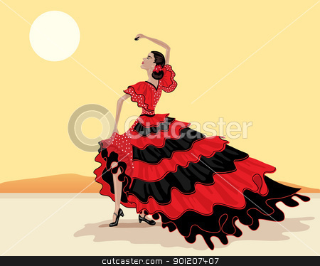 flamenco dancer stock vector clipart, an illustration of a spanish flamenco dancer in a beautiful polka dot red and black dress under a hot spanish sky by Mike Smith