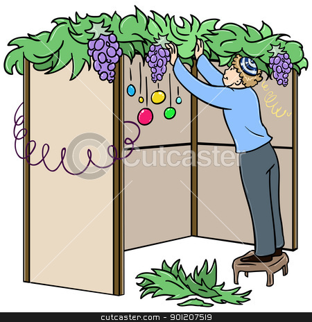 Jewish Guy Builds Sukkah For Sukkot stock vector clipart, A vector illustration of a Jewish guy standing on a stool and building a Sukkah for the Jewish holiday Sukkot. by Liron Peer